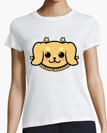 Camiseta cara de perro labrador dorado kawaii - camisa de mujer