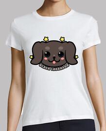 cara de perro labrador negro kawaii - camisa de mujer
