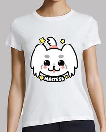 cara de perro maltés kawaii - camisa de mujer