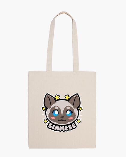 Cara del gato siamés de kawaii chibi - la bolsa de asas