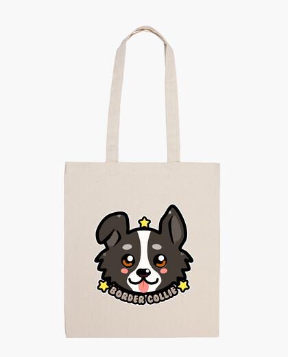 Cara del perro del border collie del kibaii chibi - la bolsa de asas