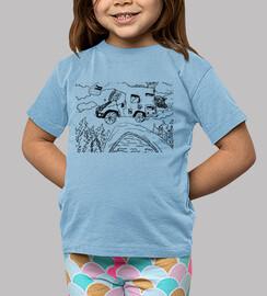 Caravana en el bosque, dibujo infantil