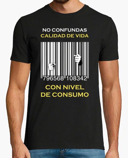 Camiseta Cárcel Código de Barras - No confundas calidad de vida con nivel de consumo