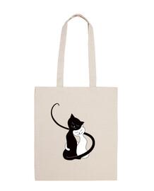 carino abbracciano bianco e nero cats in lov