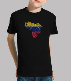 carte de venezuela drapeau tricolore carrelée
