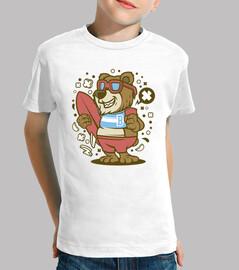 cartoon bear bear surfer t-shirt
