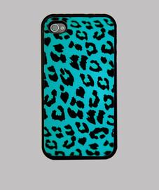 cas de l'iphone 4 - bleu leopard