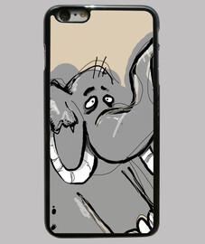 cas iphone 6 plus, noir / éléphant