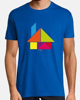 casa tangram - uomo, manica corta, blu royal, qualità extra