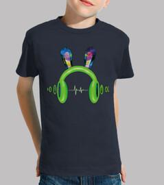 Cascos con orejas y onda sonido