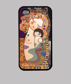caso per iphone 4 / 4s maternità stile kokeshi klimt