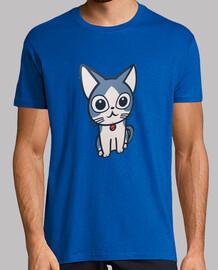 Cat. Asian Cat. Gato. Hombre, manga corta, azul royal, calidad extra
