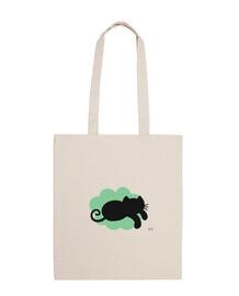 cat flying in green cloud