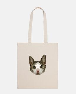 cat tote bag low poly