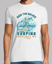 cavalca le onde surf mi ispira t-shirt estiva
