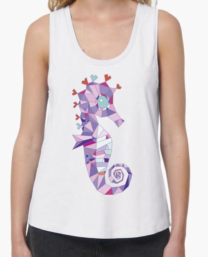 T-shirt cavalluccio donna, spalline larghe e taglio largo, bianca