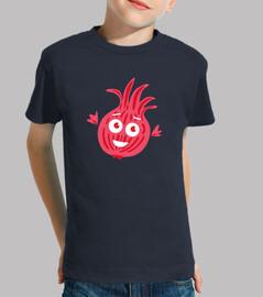 cebolla roja de la historieta divertida linda