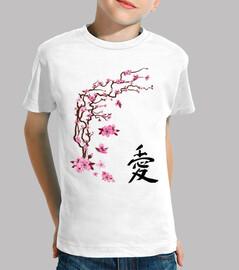 """Cerezo japonés - caligrafía """"love"""""""
