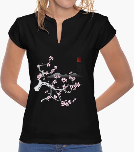 Tee-shirt cerise sumi deux filles col mandarin