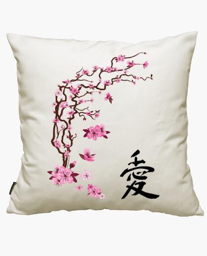 Housse de coussin cerisier japonais - l'amour de la calligraphie