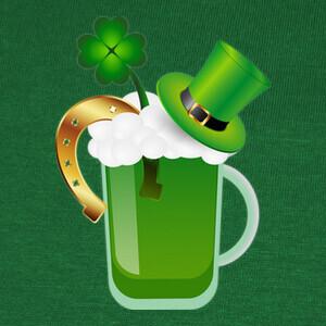 T-shirt cerveza verde y mucha suerte