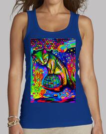 chat avec son verre de champ,  T-shirt  femelle.