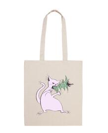 chat blanc drôle mange arbre de noël