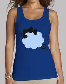 chat bleu voler sur un nuage