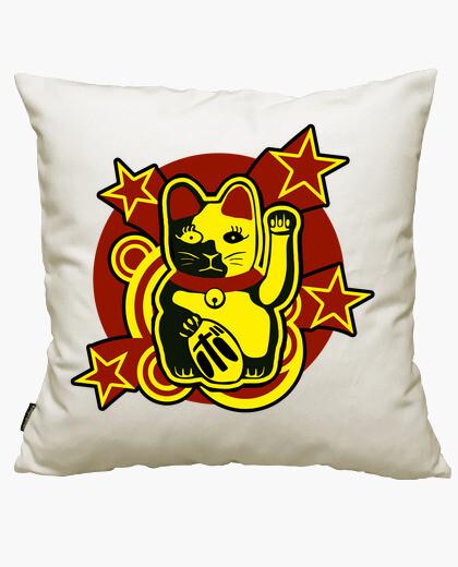Housse de coussin chat chanceux: maneki-neko