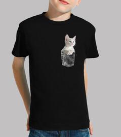chat chaton blanc dans la poche