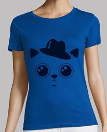 chat chemise femme, manches courtes, ciel bleu, la qualité prime