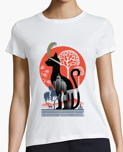 Tee-shirt chat déco chemise femmes