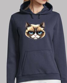 chat femme, pull à capuche, bleu marine