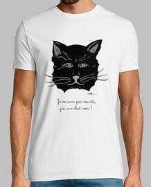 Chat noir,Tee shirt homme, blanc, qualité supérieure