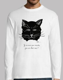 Chat noir,Tee shirt homme, manche longue, blanc