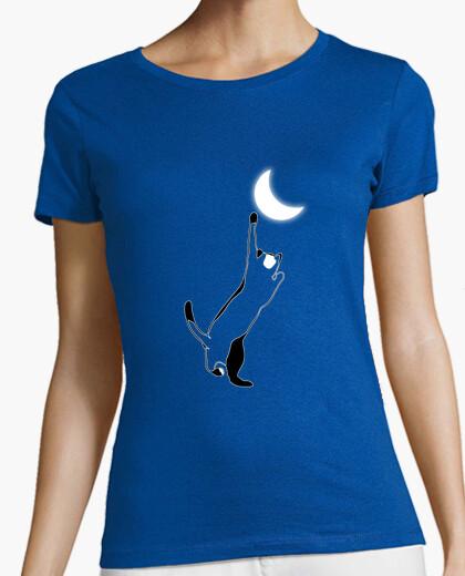 Tee-shirt chat qui joue avec la lune