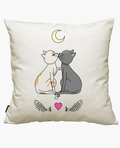 Housse de coussin chats amoureux kawaii