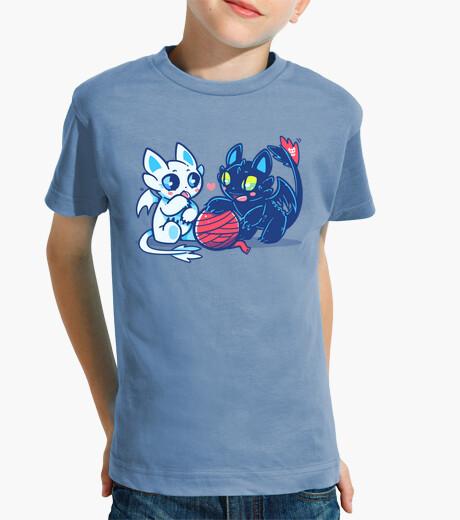 Vêtements enfant chats de dragon de lumière et de nuit - chemise d'enfants