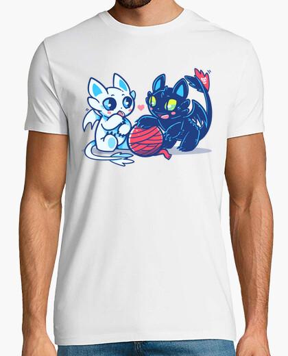 Tee-shirt chats de dragon de lumière et de nuit - chemise homme