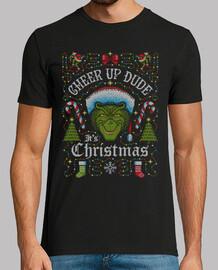 cheer up dude its christmas grinch mens t-shirt