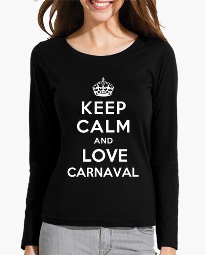Tee-shirt chemise cintrée fille manches longues à keep le and calm and le carnaval amour