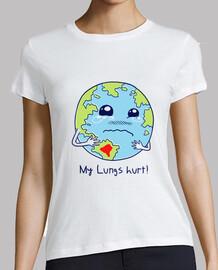 chemise de poumons de la terre des femmes