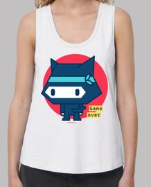 chemise femme bretelles chat ninja (couleurs variées)