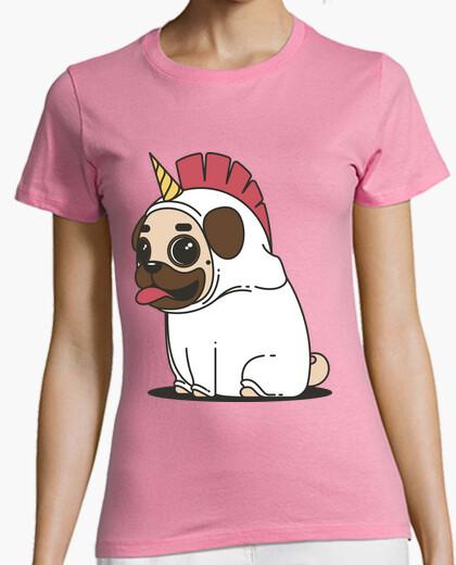 Tee-shirt chemise femme licorne chien carlin carlino