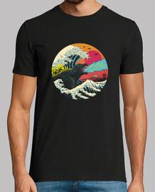 chemise rétro kaiju wave mens