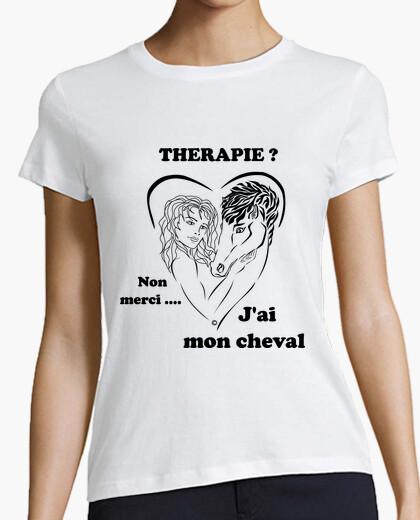 Tee-shirt cheval thérapie fond clair