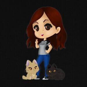 Camisetas Chibi Dru y gatitos