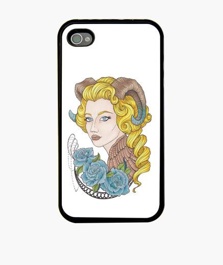 Funda iPhone chica con cuernos y rosas azules