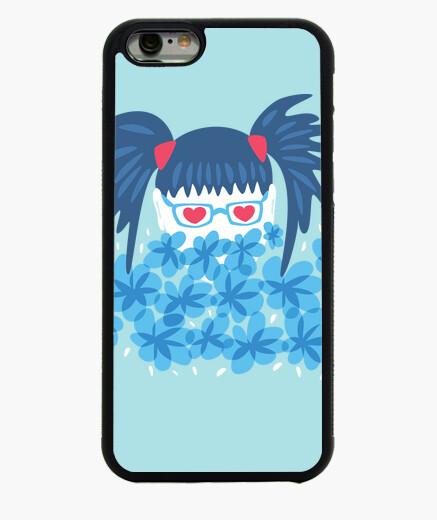 Funda iPhone 6 / 6S chica geek pelo azul y flores