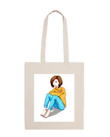 Chica Sentada - Bolsa tela 100% algodón